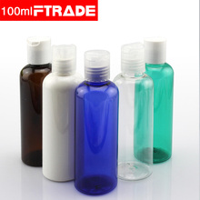 Free Shipping 100ml Empty Plastic Bottle With Press Cap,Essence Oil Contaiers,Disc Top Cap Lotion PET Bottle,10PCS/LOT(China)