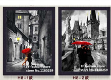 Street red umbrella lovers 2pcs 5d Diamond Painting full square diy 3d diamond embroidery mosaic picture cross stitch needlework