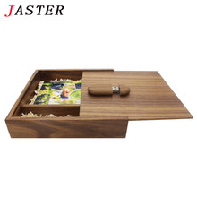 JASTER Photo Album Wood usb+ Box USB flash drive Memory card Pendrive 4GB 8GB 32GB Photography Wedding gift 170*170*35MM(China)
