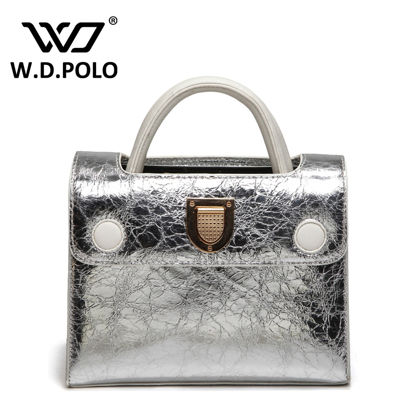 W.D. POLO New rama brand design leather women handbags silver and gold shinning color easy matching shoulder bags chic M1974<br><br>Aliexpress