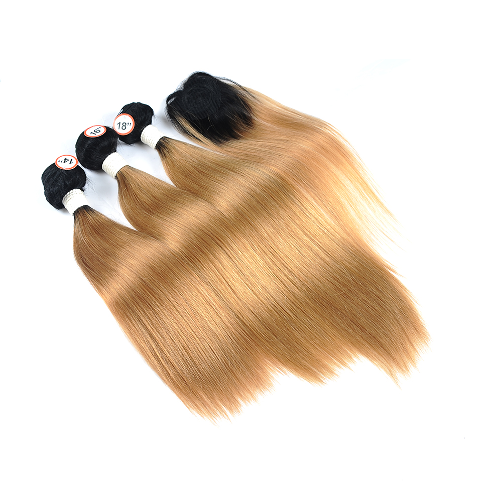 Pinshair Pre-Colored Honey Blonde 1B 27 Brazilian Straight Hair Bundles With Closure Ombre Dark Roots Human Hair Nonremy No Shed (1)