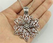 WYSIWYG Fashion Simple Antique Silver Color 66*47mm Big Flower Pendant Necklace , 70Cm Chain Long Necklace