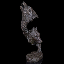 Best  Selling Pure Bronze  Double Wolf Head sculptures  bronze statue figurines animal bust home  office decoration