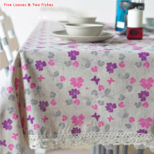 Hot Sale High Quality Purple Clover Tablecloths Hollow Lace Table Cloth For Home Textile Linen Tablecloth Sofa Cover Cloth
