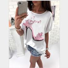 Buy Big Size 2017 New Summer Fashion Women Clothes Casual Short Sleeve Print High heels T Shirts Loose Plus Size Female T Shirt Tops for $7.87 in AliExpress store
