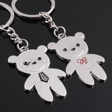 2PCS Double Lovely Teddy Bear Metal Couples Lover New Charm Pendant Key Ring Chain Keyfob Creative Personality Birthday Gift(China)