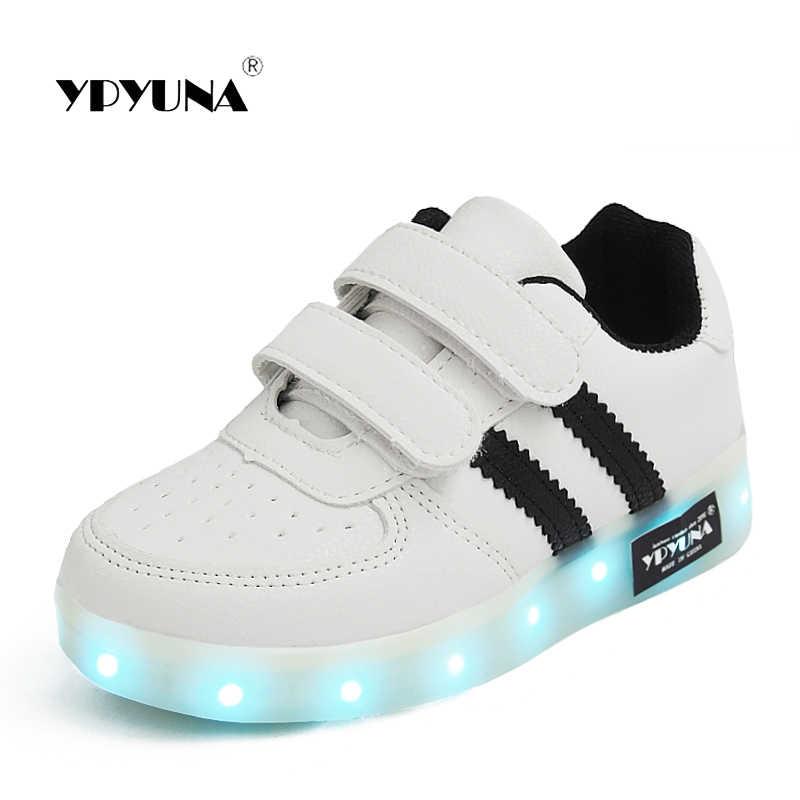5af84f80 Размеры 25-34/USB Зарядное устройство светящиеся девочек кроссовки Basket  светодио дный детская обувь