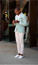 2017 Fashion Arrival Mint Green Meny Suits Blazer With Ivory Pants Casual Men Suits For Summer Skinny Young Men Daily Work Wear(China)
