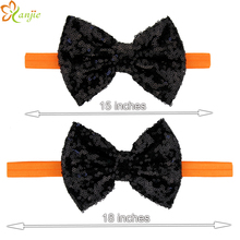 "5sets/lot Infantile KIds And Mom Halloween Headband 5"" Black Orange Sequin Bow FOE Headwear Hair Accessories"