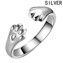 Cute Dog Cat Paw Ring For Women New Fashion Silver Plated Claw Jewelry(China)
