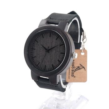 Bobobird C27 Diseño hombres de la Marca de Lujo de Relojes Con El Reloj de Cuarzo de Cuero Real De Madera De Bambú en Caja de Regalo