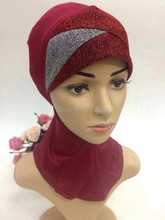 40pcs/Lot  Fashion newest MUSLIM UNDERSCARF three crossover gold silver muslim neck cover