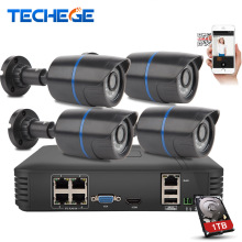 Techege 4CH POE NVR 1080P HDMI 4PCS 1.0MP IP camera IR Weatherproof Outdoor 720P CCTV Camera Security System Surveillance Kit