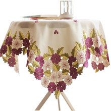[WIT]110x110cm Round Tablecloths Cutwork Handmake Embroidered Tablecloth Purple Floral Table cloths Elegant Table Topper Cover