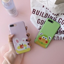 For iPhone 7plus Case Cute Pink Rabbit And Green Bear Soft TPU Couple Phone Bag Case For iPhone 6 6S 6PLUS 6S PLUS 7(China)