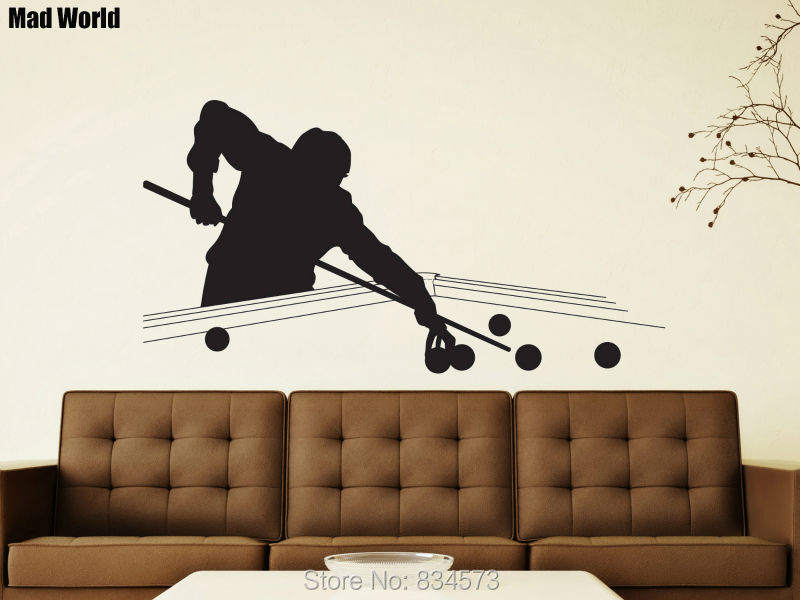 Mad World-Snooker Pool Table Silhouette Wall Art Stickers Wall Decal ...