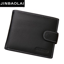 JINBAOLAI Leather Men Wallets Solid Sample Style Zipper Purse Man Card Horder Leather Famous Brand High Quality Male Wallet(China)
