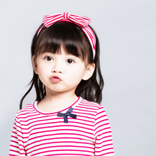 2017 New Precision Cotton Striped Bowknot Newborn Soft Stretch Turban Hairbands Kids Headbands Girls Hair Band Accessories(China)