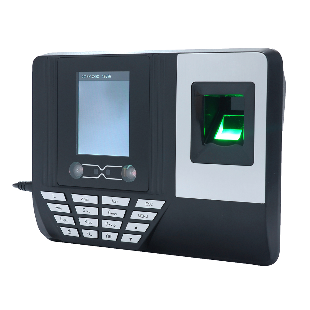 Face Fingerprint Password Attendance Machine Employee Checking-in Payroll Recorder 2.8 inch LCD Screen Facial Recognition Time