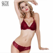 QIZHIMIAO cotton push up bra Absolute luxury lace sexy red wine under the thin thick underwear bra suit the underwear is female(China)