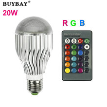 E27 RGB LED Lamp 20W 85-265V LED RGB Bulb Light 110V 120V 220V Led Soptlight Remote Control 16 Colors Changeable Lamparas