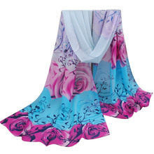 From india promotion 2017 rose print chiffon polyester scarves woman thin shawl turban belt hijab fashion arabic scarfs wrap(China)