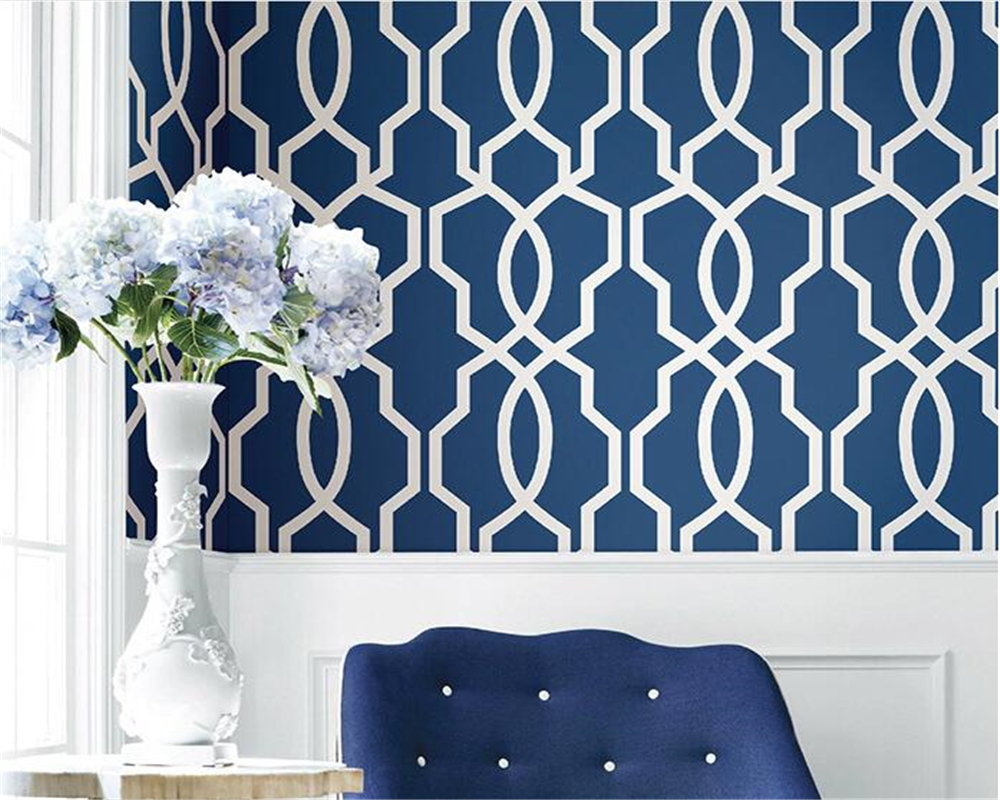 beibehang The new Chinese style bedroom modern minimalist wall paper woven plain lattice window geometry background 3d wallpaper<br>