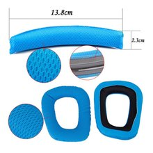 NEW Blue Logitech G35 G930 G430 F450 Headphones Replacement Headband Earpads Cushion Set(China)