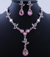 Pink Top Amethyst Crystal Vintage Jewelry Sets Necklace Earrings Bridal Wedding Engagement Jewelry Accessories Crystal Sets