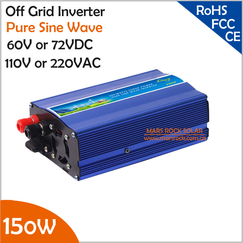 150W 60V/72VDC off grid pure sine wave inverter, surge power 300W, working for dc to ac small solar or wind power system<br>