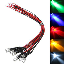 Buy 10pcs New 12V 5mm Pre-Wired Constant LED Ultra Bright Water Clear Bulbs Red Yellow Blue Green White for $1.23 in AliExpress store