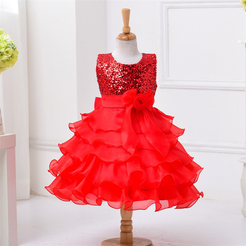 Princess Style Layered Dress For Girls Sequin Stage Performance Evening Party Wedding Dresses With Big Bow 2017 Free Shipping <br><br>Aliexpress