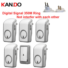 Euro/US PLUG BELL w/ 1 emitter+5 receivers wireless doorbell Waterproof 380 Meter door chime door ring digital signal door bell