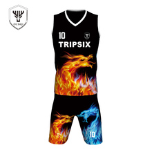 Professional customization of the whole body heat sublimation basketball jersey black flame(China)