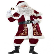Santa Claus Cosplay Costume A Full Set Of Christmas Costumes Red and Blue Santa Claus Christmas Clothes Luxury Suit
