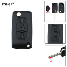 FGHGF Remote Key Case Shell For Peugeot 407 407 307 308 607 Key Cover 3Buttons Flip Key Case HU83 Blade CE0523 with Logo