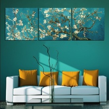 3pieces living room home modern decoration canvas painting almond flower wall art picture unframed brief prints oil paintings