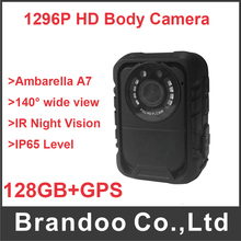 128G Police Body Camera with 10Meters IR Night Vision and GPS tracking,Video Record camera for security guide(China)