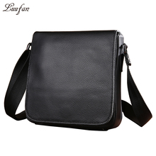 Men's genuine Leather shoulder bag for iPad Mini Cute Black Real leather messenger bag Small Cowhide satchel bag fast post(China)