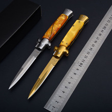 Top Items Italy Pocket knifes ox bone handle Italian Godfather Stiletto steel Titaniums blade survival outdoor camping knives(China)