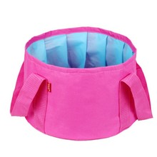 Portable Travel Outdoor Round Folding Water Washbasin Camping Picnic Oxford Wash Bucket Bag Ultralight Wash Basin Foot Bath(China)