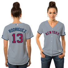 MLB Women's New York Yankees Alex Rodriguez Gray 2017 Stars & Stripes Cool Base Player Jersey(China)