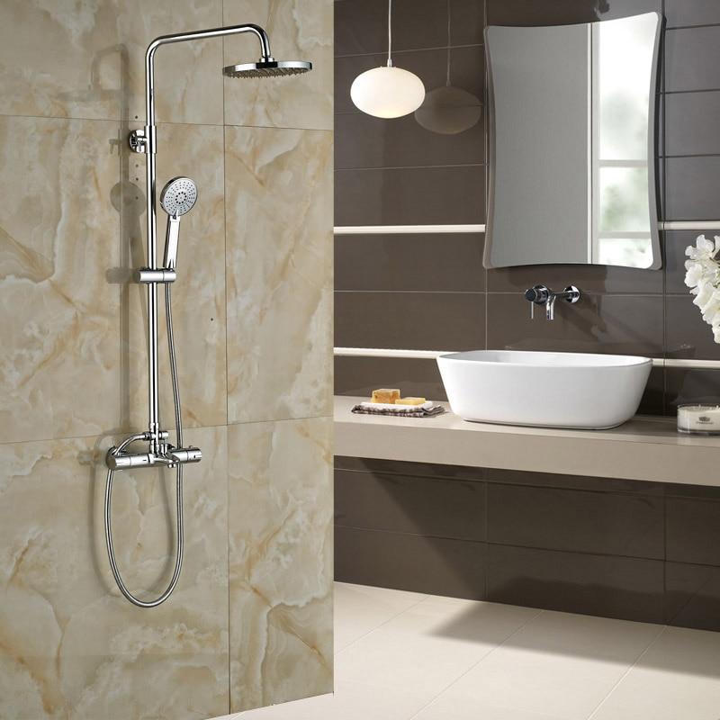 Polish Chrome 8 Rainfall Showerhead Thermostatic Mixer Walve Wall Mount with Handshower Bath Shower Mixer Faucet Set<br><br>Aliexpress