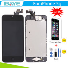 Black For iPhone 5 Display for Iphone5 5G lcd screen Touch Digitizer Assembly Pantalla + mobile phone Tempered Glass +Tools