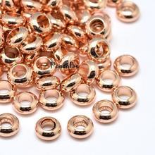 40pcs 7x3mm, Hole: 3.5mm Environmental Brass Flat Round Bead Spacers Jewelry Findings, Lead Cadmium Nickel Free, Rose Gold