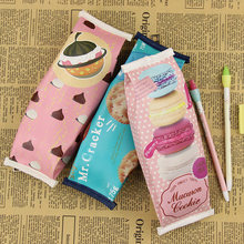 1 PC Macaron Cracker Creative Pencil Case Cookies Pencil Bag Give Children The Stationery Gift Chocolate Pencil Bag(China)