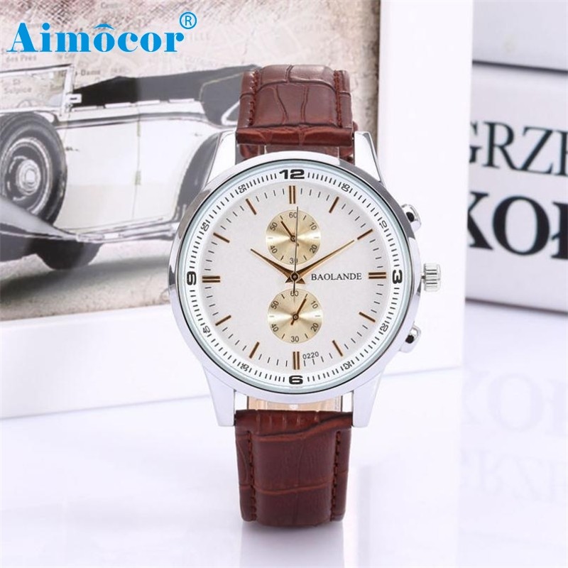 2017 Newly Designed Hot  Man And Women Business Numerals Faux Leather Analog Quartz Watch Dropshipping men watch gold#30