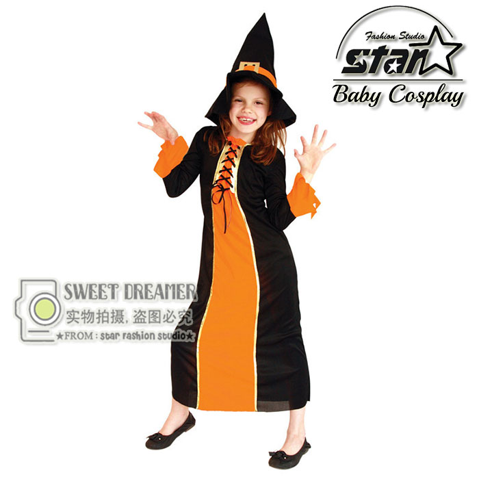 M-XL Halloween Witch Costumes for Children Girls Dress Cosplay Clothes for Girls Carnival Costumes Magician Maxi Robe Dress<br>