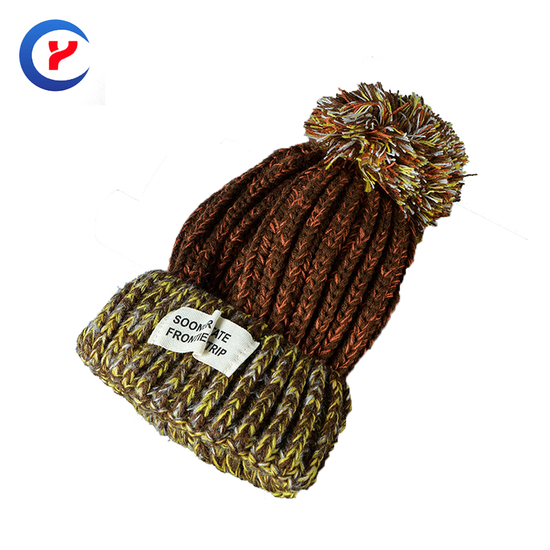 Classical Winter Women Knitted Hat Cute Casual hat Keep Warm With pompons Thick stitch Outdoor Leisure Cap #x39Одежда и ак�е��уары<br><br><br>Aliexpress