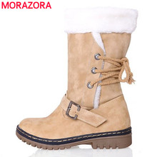 MORAZORA New arrive autumn and winter retro fashion snow boots warm cotton boots lace up platform fashion ankle women boots